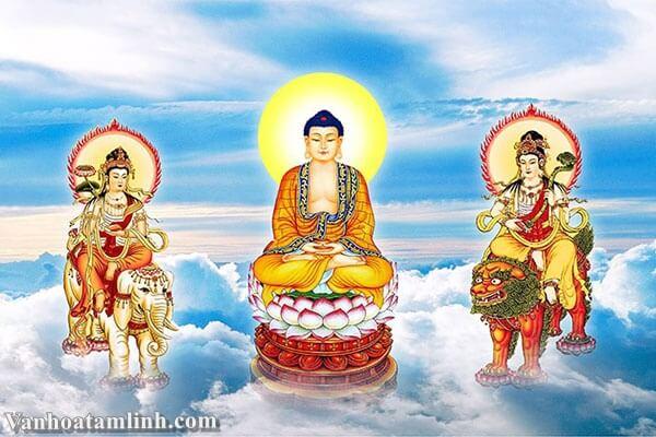 Bồ Tát Phổ Hiền tọa bên tay phải Phật Thích Ca